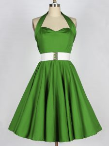 Custom Design Green A-line Belt Quinceanera Dama Dress Lace Up Taffeta Sleeveless Knee Length