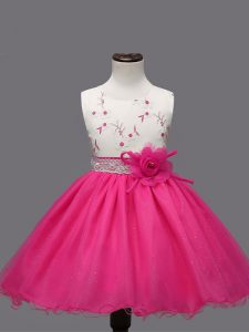 Hot Pink Sleeveless Organza Zipper Party Dress for Girls for Wedding Party