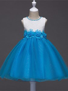 Adorable Sleeveless Lace and Hand Made Flower Zipper Girls Pageant Dresses