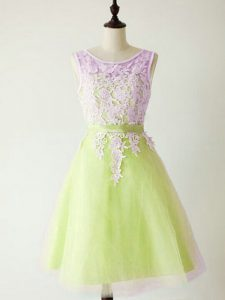 Beauteous Knee Length A-line Sleeveless Yellow Green Court Dresses for Sweet 16 Lace Up
