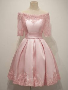 Great Lace Dama Dress for Quinceanera Pink Lace Up Half Sleeves Knee Length