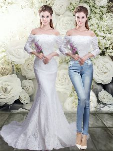 Great White Off The Shoulder Lace Up Lace Wedding Gowns Brush Train 3 4 Length Sleeve