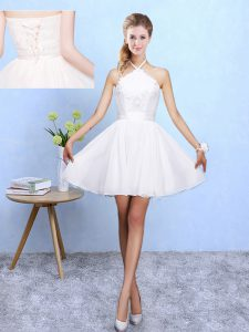 Excellent White A-line Lace and Appliques Damas Dress Lace Up Chiffon Sleeveless Mini Length