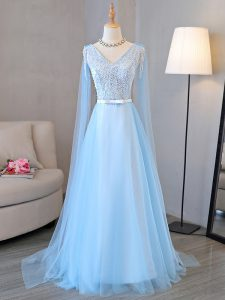 Baby Blue V-neck Neckline Beading and Belt Homecoming Dress Long Sleeves Lace Up