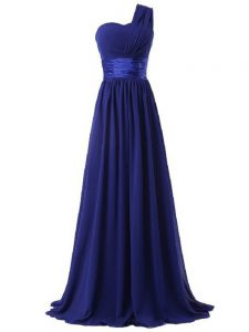 Custom Designed Chiffon One Shoulder Sleeveless Lace Up Ruching Court Dresses for Sweet 16 in Royal Blue