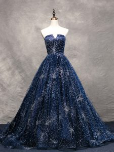 Navy Blue A-line Tulle V-neck Sleeveless Beading Lace Up Homecoming Dress Brush Train
