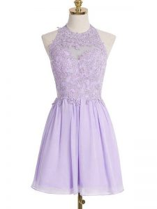 Lavender Empire Lace Court Dresses for Sweet 16 Lace Up Chiffon Sleeveless Knee Length