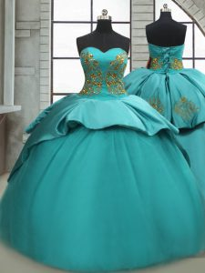 Turquoise Sleeveless Sweep Train Beading and Appliques Quince Ball Gowns
