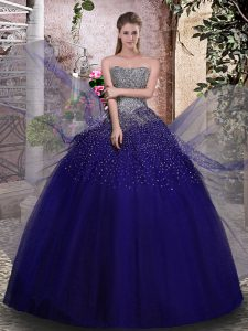 Modern Sleeveless Tulle Floor Length Lace Up Quinceanera Dress in Royal Blue with Beading