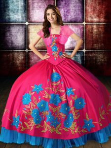 Hot Pink Strapless Neckline Embroidery 15th Birthday Dress Sleeveless Lace Up