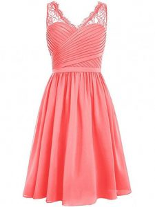 Eye-catching Empire Quinceanera Court of Honor Dress Watermelon Red V-neck Chiffon Sleeveless Knee Length Side Zipper