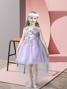 Lavender Ball Gowns V-neck Sleeveless Tulle High Low Zipper Lace and Bowknot Toddler Flower Girl Dress