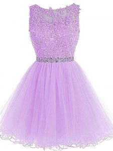 Fabulous Scoop Sleeveless Zipper Prom Dress Lavender Tulle