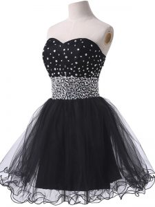 A-line Black Sweetheart Tulle Sleeveless Mini Length Lace Up