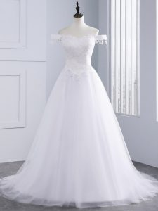 Off The Shoulder Sleeveless Tulle Wedding Dresses Lace and Appliques Lace Up
