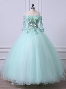 Apple Green Ball Gowns Beading Quinceanera Dresses Lace Up Tulle 3 4 Length Sleeve Floor Length