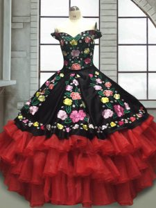 Red And Black Organza and Taffeta Lace Up Sweet 16 Quinceanera Dress Sleeveless Floor Length Embroidery and Ruffled Layers