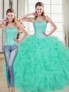 Two Pieces Sleeveless Turquoise Quinceanera Dress Brush Train Lace Up