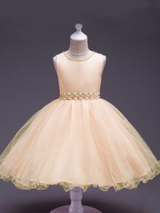 Cute Peach Zipper Scoop Beading Flower Girl Dresses for Less Organza Sleeveless