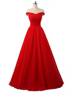 Luxurious Red A-line Tulle Off The Shoulder Sleeveless Ruching Floor Length Lace Up Formal Dresses