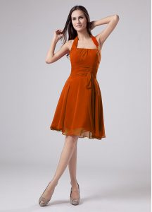 Modest Orange Sleeveless Ruching Knee Length Mother of Groom Dress