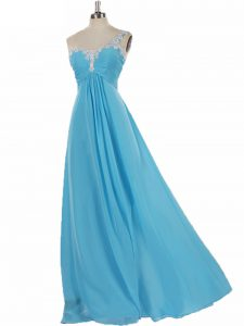 Glamorous Aqua Blue Empire One Shoulder Sleeveless Chiffon Floor Length Zipper Appliques Dama Dress for Quinceanera