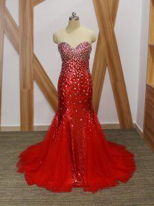 Dramatic Mermaid Prom Evening Gown Red Sweetheart Tulle Sleeveless Floor Length Zipper