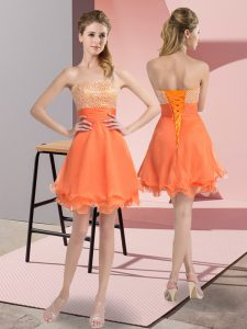 Glittering Orange Organza Lace Up Sweetheart Sleeveless Mini Length Club Wear Beading and Ruffled Layers and Ruching
