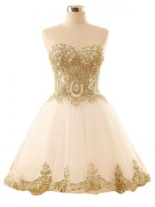 Admirable Champagne Prom Party Dress Prom and Party and Sweet 16 with Lace and Appliques Sweetheart Sleeveless Lace Up