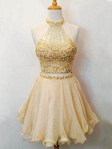 Champagne Halter Top Neckline Beading Dama Dress for Quinceanera Sleeveless Lace Up