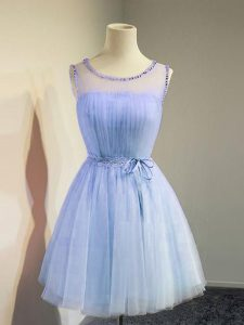 Glorious Empire Quinceanera Dama Dress Lavender Scoop Tulle Sleeveless Knee Length Lace Up