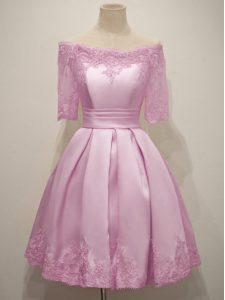 Enchanting Lilac Half Sleeves Taffeta Lace Up Bridesmaids Dress for Prom and Party and Wedding Party