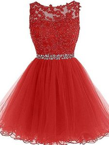 Artistic Mini Length Red Cocktail Dress Tulle Sleeveless Beading and Lace and Appliques