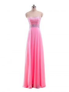 Great Rose Pink Zipper Pageant Dress for Teens Beading Sleeveless Floor Length