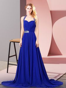 Captivating Royal Blue Zipper Halter Top Beading and Ruching Chiffon Sleeveless