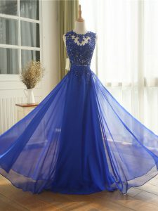 High Class Royal Blue Zipper Scoop Appliques Homecoming Dress Chiffon Sleeveless