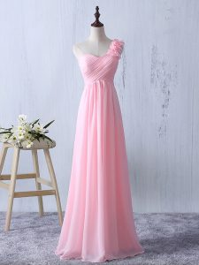 Custom Fit Floor Length Baby Pink Dama Dress for Quinceanera One Shoulder Sleeveless Zipper