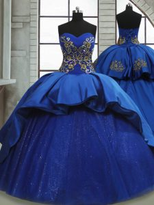 Simple Royal Blue Sleeveless Beading and Appliques Lace Up Sweet 16 Dress