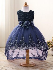 Superior High Low Navy Blue Kids Pageant Dress Tulle Sleeveless Lace and Appliques and Bowknot and Hand Made Flower
