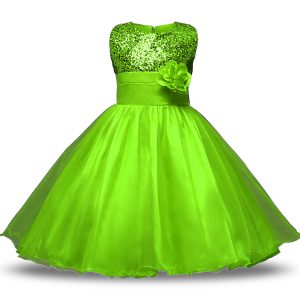 Dynamic Sleeveless Organza and Sequined Zipper Flower Girl Dresses for Less for Military Ball and Sweet 16 and Quinceanera