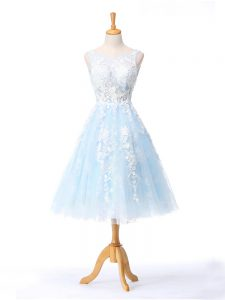 Romantic Light Blue Backless Scoop Appliques Court Dresses for Sweet 16 Tulle Sleeveless