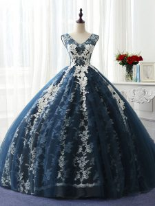 Fashionable Navy Blue Ball Gowns Scoop Sleeveless Organza and Taffeta and Chiffon and Tulle Floor Length Lace Up Ruffles and Pattern Quinceanera Dresses