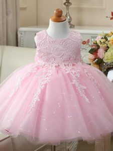 Unique Baby Pink Party Dress Wedding Party with Appliques and Bowknot Scoop Sleeveless Zipper
