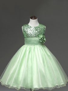 Exquisite Apple Green Sleeveless Sequins and Hand Made Flower Knee Length Child Pageant Dress