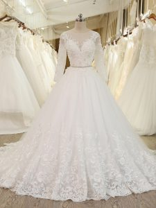 White Tulle Zipper Wedding Gown Long Sleeves Chapel Train Beading and Lace and Appliques