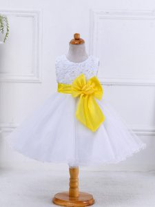 Organza Scoop Sleeveless Zipper Bowknot Flower Girl Dress in White