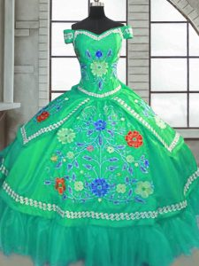 Floor Length Ball Gowns Short Sleeves Green Sweet 16 Quinceanera Dress Lace Up