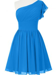 Beauteous Empire Homecoming Gowns Blue One Shoulder Chiffon Sleeveless Mini Length Side Zipper