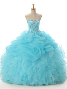 Organza Sleeveless Floor Length Ball Gown Prom Dress and Beading and Ruffled Layers