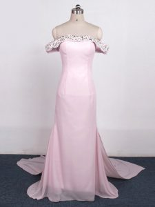 Chic Baby Pink Off The Shoulder Neckline Beading Evening Party Dresses Sleeveless Zipper